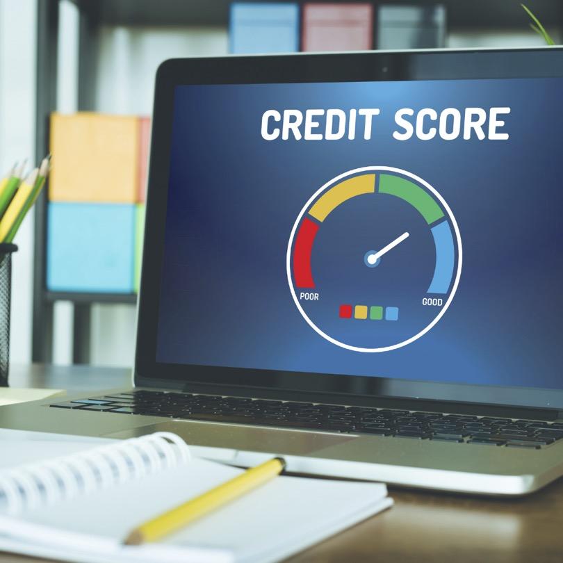 Credit score report on computer screen
